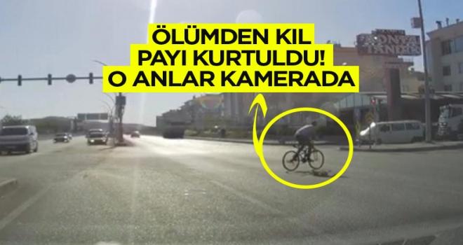 Polatlı'da bisikletli genç ölümden kıl payı kurtuldu!