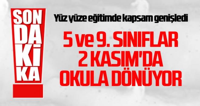 Cumhurbaşkanı Erdoğan: 2 Kasım'da 5. ve 9. sınıflarda yüz yüze eğitime başlanacak