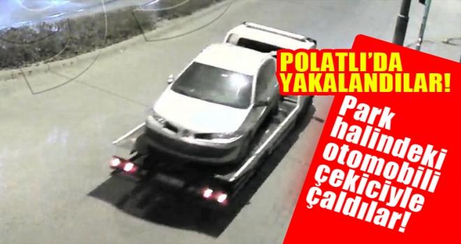 Boş arsada bulunan aracı çekiciyle çaldılar! Polatlı'da yakalandılar...