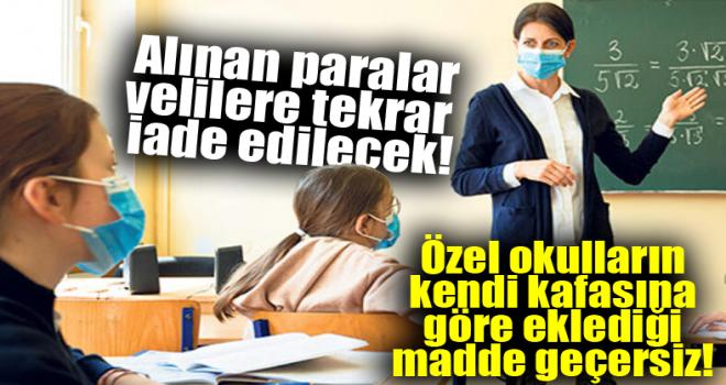 Özel okul ücretine 'pandemi' iadesi