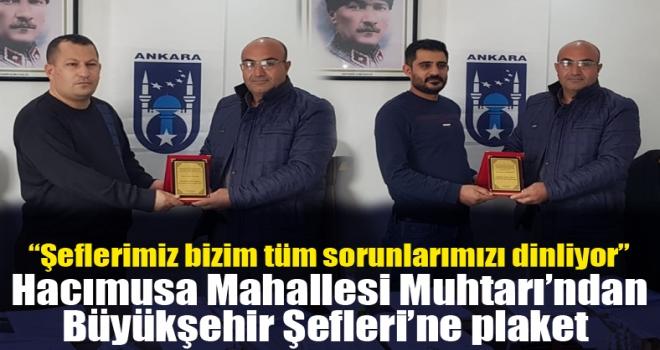 Muhtar Kömürcü'den Ankara Büyükşehir Polatlı Yol-Asfalt Şefliği'ne Plaket