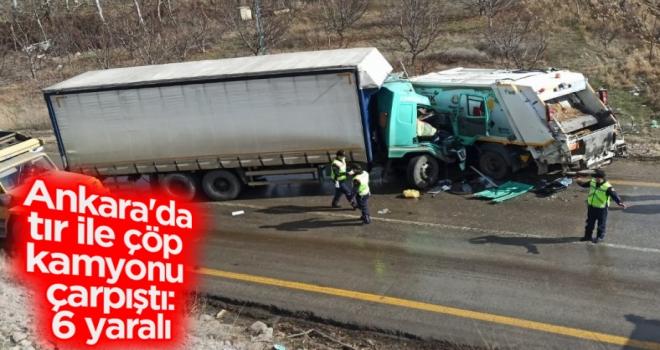 Ankara'da tır ile çöp kamyonu çarpıştı: 6 yaralı