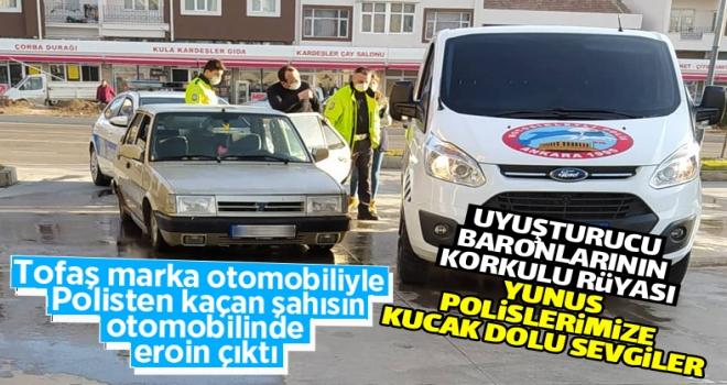 Polatlı'da polisten kaçan otomobilden eroin çıktı!