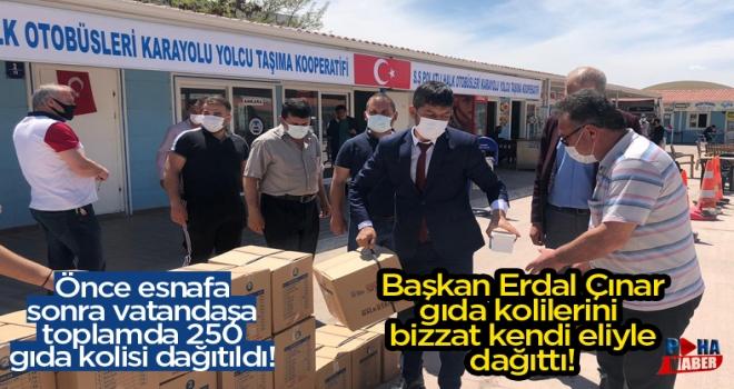 Polatlı Özel Halk Otobüsleri Kooperatifi'nden 250 adet gıda kolisi yardımı