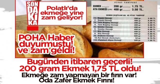 Polatlı'da ekmeğe zam geldi!
