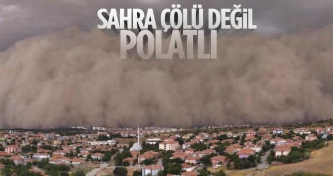 Polatlı'da kum fırtınası: Güngüz geceye döndü
