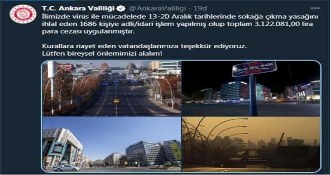 Sokağa Çıkma Kısıtlamasında Ankara'ya Ceza Yağdı