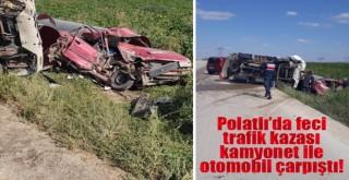 Temelli'de feci kaza: kamyonet ile otomobil çarpıştı: 2 yaralı